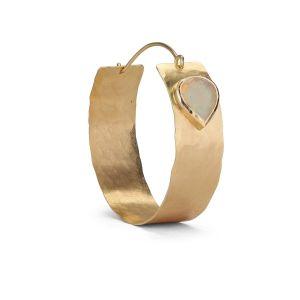 Flat Opal Hoop, 18 karats guld