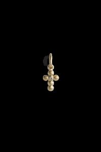 Cross Pendant with 1 Diamond, förgyllt sterlingsilver