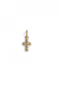 Cross Pendant with 6 Diamonds, förgyllt sterling silver