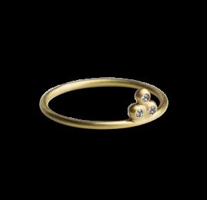Diamond Temple Ring, förgyllt sterlingsilver