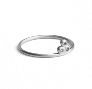Diamond Temple Ring, sterling silver