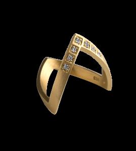 Diamond V Ring, förgylld sterling silver