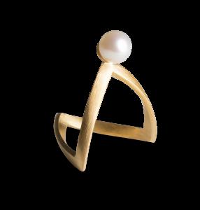 Pearl V Ring, förgyllt sterlingsilver