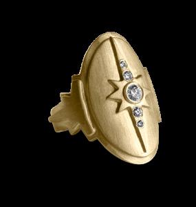 Diamond Shield Ring, förgyllt sterlingsilver