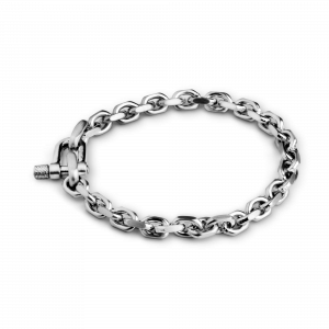 Faceted Anchor Chain Bracelet, rhodinated sterling silver