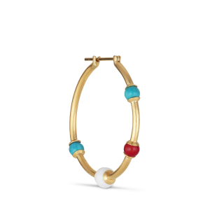 Splash Creole with turquoise, agate and coral, förgyllt silver