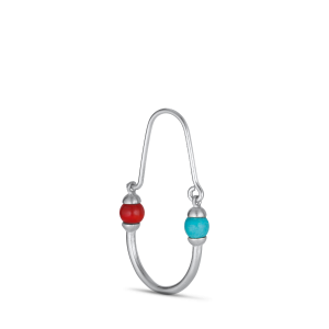 Splash Oval Creole with turquoise and coral, silver