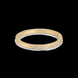 Small alliance ring, semi filled, 18 karat guld, 0,005 ct diamanter