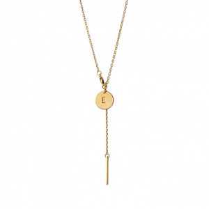 Combination of a Faceted Anchor Chain and 1 medium Lovetag, gold-plated sterling silver