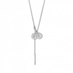 Combination of a Faceted Anchor Chain and 2 medium Lovetag, sterling silver