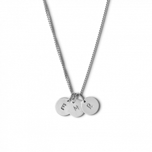 Combination of a Curb Chain and 3 medium Lovetags, sterling silver