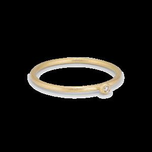 Princess ring, 18 karat guld, 0.02 ct diamant, kulmontering