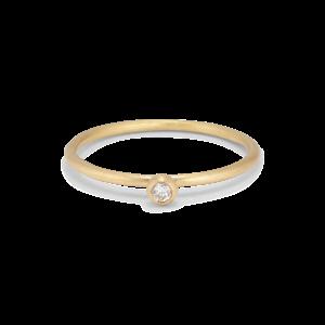 Princess ring, 18 karat guld, 0.05 ct diamant, kulmontering