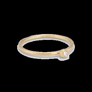 Princess ring, 18 karat guld, 0.03 ct diamant, kulmontering