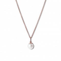 Combination of an Anchor Chain and Big Pearl Pendant, rose-gold-plated sterling silver