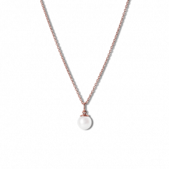 Combination of an Anchor Chain and Small Pearl Pendant, rose gold-plated sterling silver