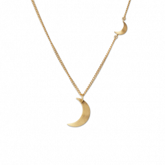 Combination of Half Moon Necklace and Half Moon Pendant, gold-plated sterling silver