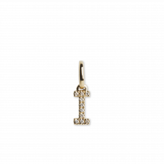 "Letter Pendant with Diamonds ""I"", 18 carat gold"