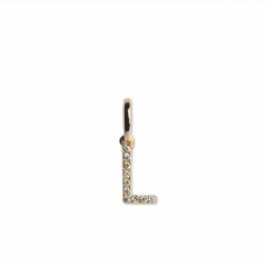 "Letter Pendant ""L"" with Diamonds, 18 carat gold"