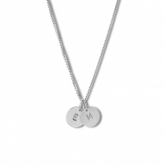 Combination of a Curb Chain and 2 medium Lovetags, sterling silver