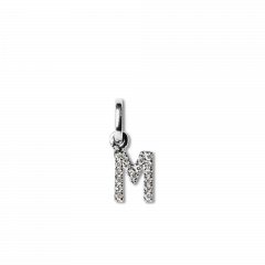 "Letter Pendant with Diamonds ""M"", 18 carat white gold"