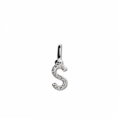 "Letter Pendant with Diamonds ""S"", 18 carat white gold"