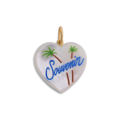Souvenir Heart with enamel, pärlemor berlock, förgyllt sterling silver
